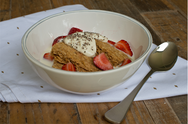 Weet-Bix™ with strawberries, yoghurt and chia seeds