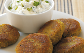 Indian pea cakes with mint chutney