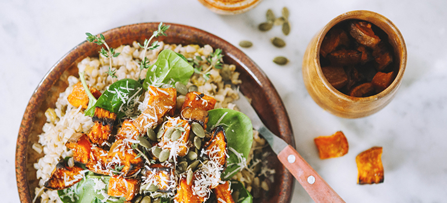 Sweet potato and pearl barley risotto
