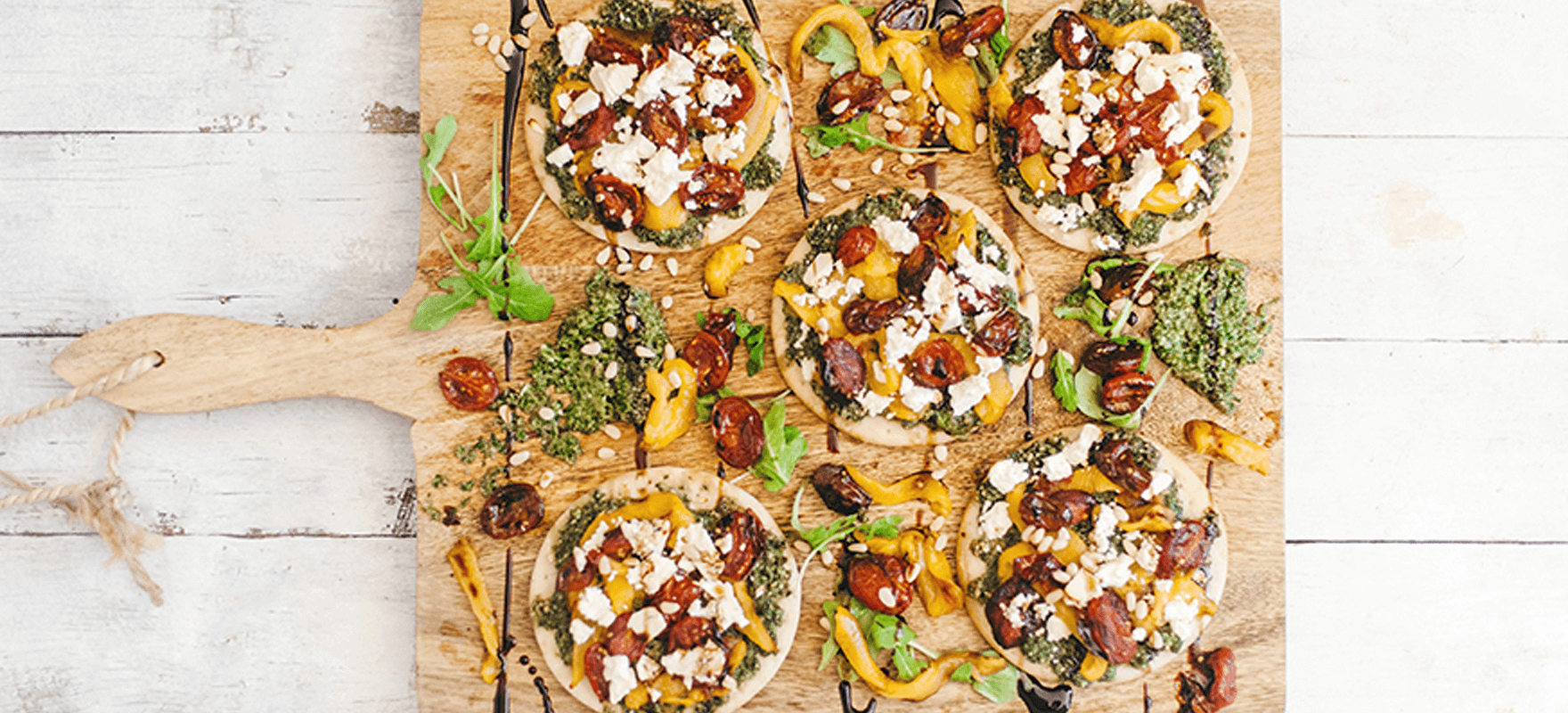 Roasted vegetable pesto pizzetta