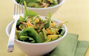 Avocado and pawpaw salad with passionfruit dressing