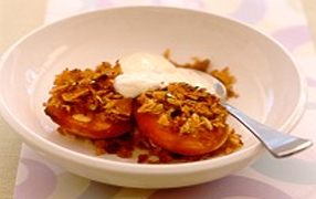 Grilled peaches with passionfruit yoghurt