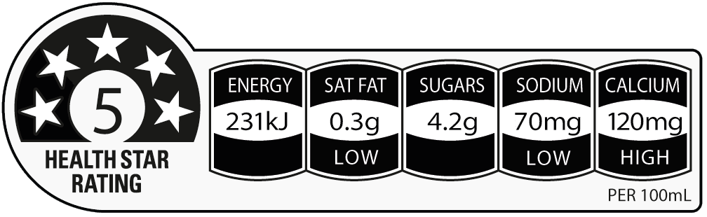 Up and Go Reduced sugar choc ice flavour has a 5 star health rating
