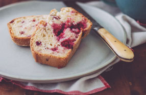 Raspberry and coconut bread