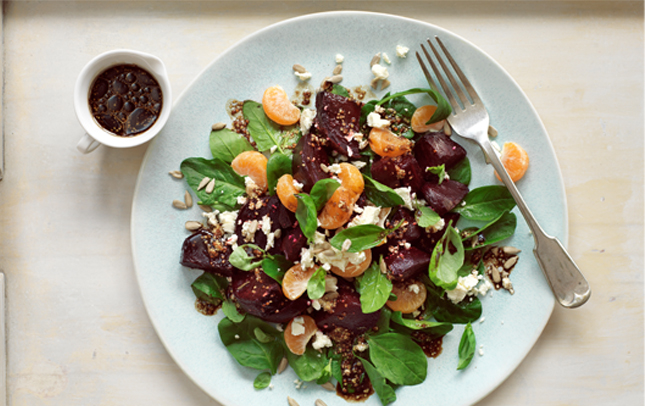 Beet and feta salad with Marmite™ dressing