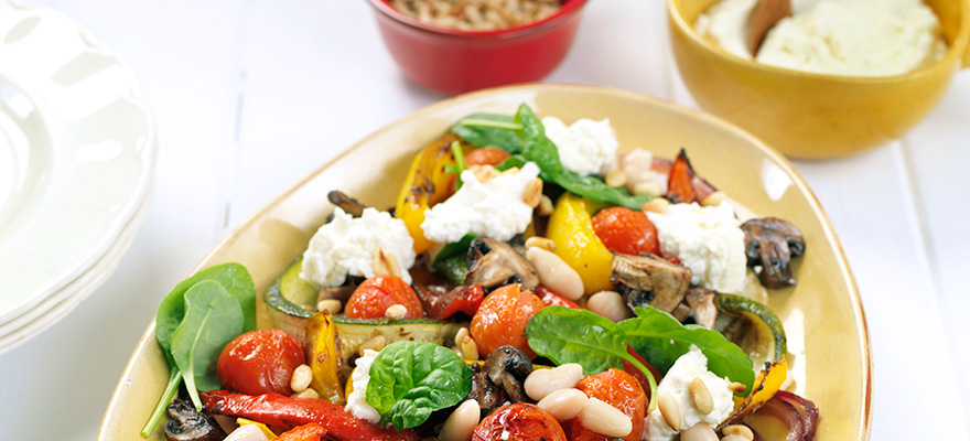 Roast vegetable and white bean salad