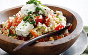 Warm capsicum, tomato, burghul and baked ricotta salad
