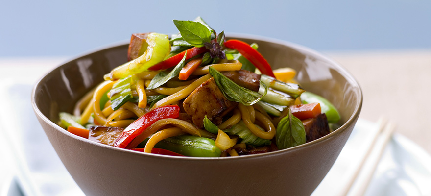 Marinated tofu vegetable noodles