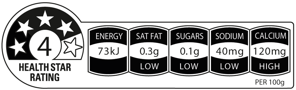 So God cashew milk unsweetened has a 4 out of 5 health star rating