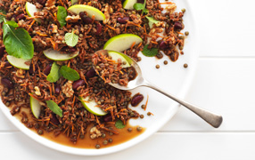 Lentil apple and walnut salad with Marmite™ vinaigrette