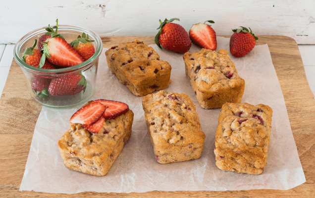 Mini banana and strawberry loaves