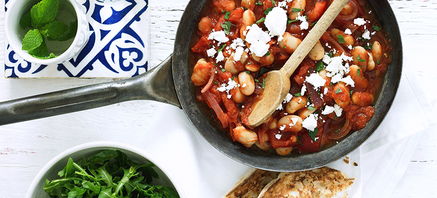 Butter beans with rocket - Greek style