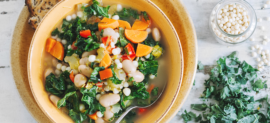 Israeli couscous and butterbean soup