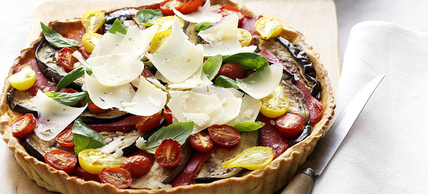 Sweet potato tart with grilled vegetables