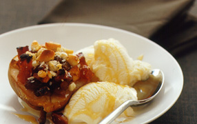 Baked pears with macadamia nuts